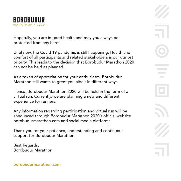 The Continuance of Borobudur Marathon 2020